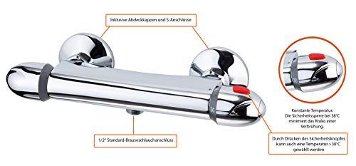EISL Duscharmatur VITAL, Mischbatterie mit Thermostat, Wasserhahn Dusche mit Sicherheitssperre bei 38°C, Brausearmatur, Brausethermostat Chrom CLT168VCR