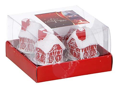 Invero® Juego de 4 Velas de Navidad con Forma de casa de Nieve – Decoración Ideal para Todos los Salones, cocinas, dormitorios, oficinas y más