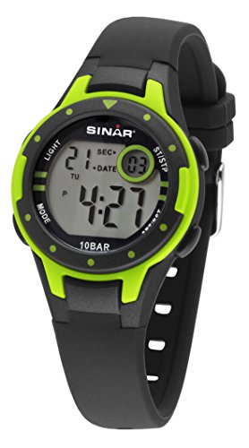 SINAR Jungen-Armbanduhr schwarz neongrün Sportuhr outdoor 10 bar wasserdicht Licht digital XE-52-3