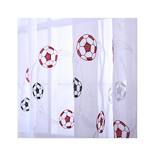 1 x cortina de gasa Ians Emporium con diseño infantil de balones de fútbol 139,7 x 228 cm 1 panel. Color negro, azul y rojo