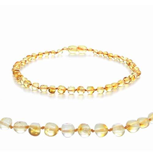 New Amber Bracelet/Necklace Baby Jewelry Natural Quartz Amber Beads Women Gift Girls Boys Birthday Bijoux-N_35cm Baby