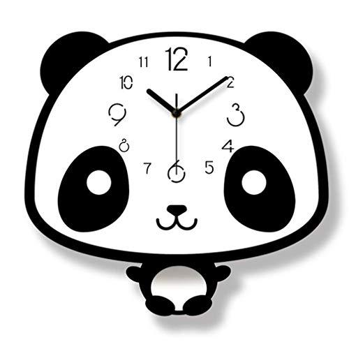 YYM Reloj de Pared de Dibujos Animados, Panda Moderno Moda Linda Simple Material acrílico Respetuoso con el Medio Ambiente Dormitorio Habitación Infantil Columpio Reloj Creativo Moderno Negro Blanco,