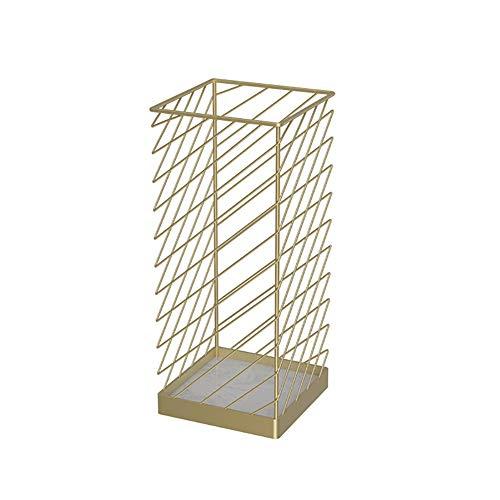 Schirmständer Metall Quadratischer Marmorsockel, Moderner Schirmaufbewahrungshalter für Zuhause Büro Dekor, 25 × 25 × 60cm (Color : Gold)