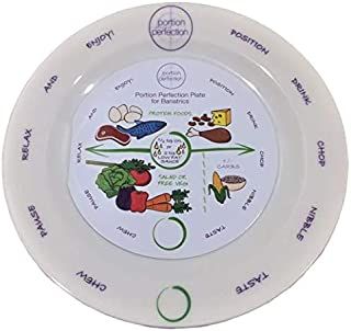 """Bariatric Melamine Portion Control Plate 8"""" For Weight Loss After Surgery. Health Eating Educational Visual Tool For Gastric Sleeve, Bypass Or Band With Protein, Carbs And Vegetables"""