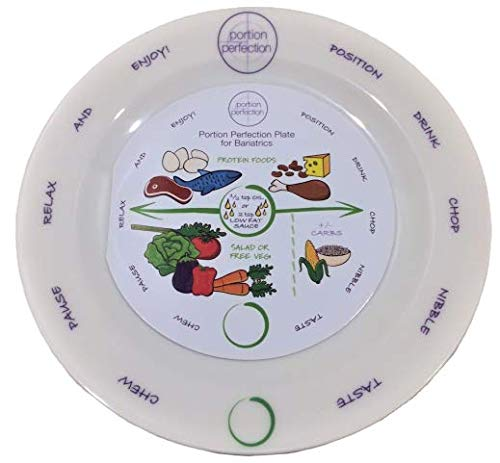 "Bariatric Melamine Portion Control Plate 8"" For Weight Loss After Surgery. Health Eating Educational Visual Tool For Gastric Sleeve, Bypass Or Band With Protein, Carbs And Vegetables"