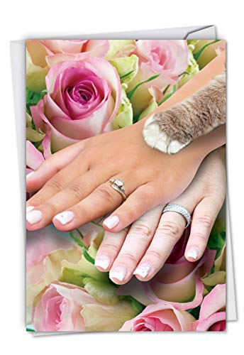 Hands And Cat Paw Lesbian - Newlywed Marriage Card with Envelope (4.63 x 6.75 Inch) - Funny Pet Kitten and Wedding Couple, Note Card for Weddings - Lesbians, Gay Congratulations 9034