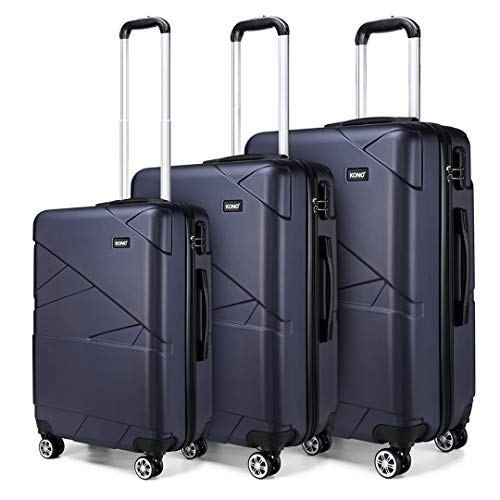 Kono Hard Shell Luggage Lightweight 4 Wheeled Spinner 3 pcs (3 Pcs Set, Navy)