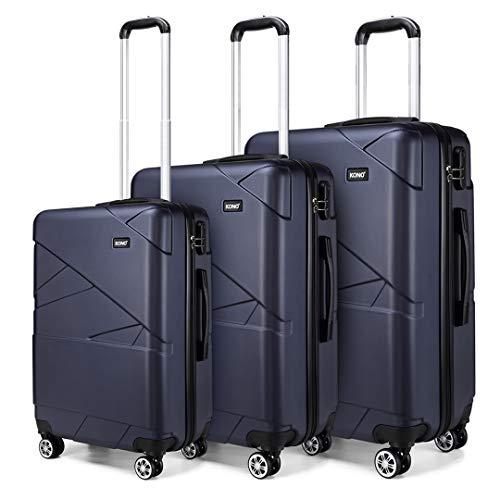 Kono Hard Shell Luggage Lightweight 4 Wheeled Spinner 3 pcs (3 Pcs Set, Navy)
