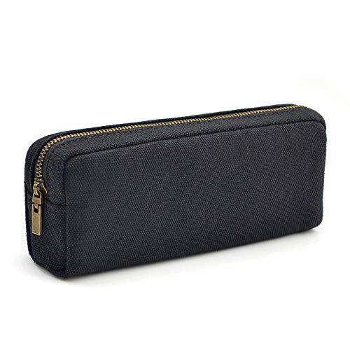 Pencil Pen Case, Dobmit Big Capacity Pencil Pouch Canvas Makeup Bag for Girls and Boys Durable Office Stationery Organizer - Black