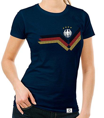 Damen T-Shirt - Deutschland Fußball WM dunkelblau-Weiss M