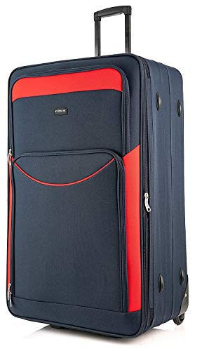 DK Luggage Starlite Lightweight Large Expandable Suitcases with 2 Wheels Navy