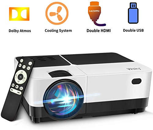 Wsky Projector, Video Portable Projector for Outdoor Movies, 1080P, 50000 Hours LED Life Supported, Compatible with HDMI TV Stick, Video Games, TV Box, PS4, VGA, TF, AV, USB