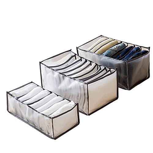 Caja de almacenamiento con compartimento para pantalones vaqueros para armario, cajones, de malla, separación de pantalones, divisor, se puede lavar el organizador del hogar (negro, 3 unidades)