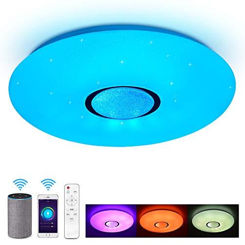 JDONG Deckenleuchte kompatibel mit Amazon Alexa und Google Home 24W, Ø 40CM,Farbwechsel, Sternen, dimmbar, Warmweiss- Kaltweiss, 2800-6500 Kelvin, RGB Umgebungslicht, NachtlichtX5060YR-24W-AL