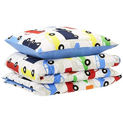 Amazon Basics - Funda nórdica para niños, microfibra, coches, 135 x 200 cm + 80 x 80 cm