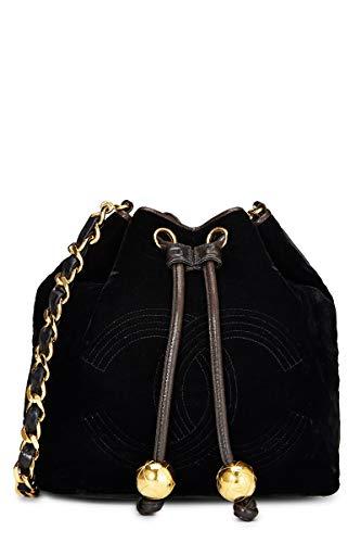 CHANEL Black Velvet Bucket Bag Small (Renewed)