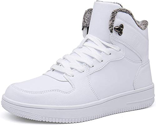 Gaatpot Herren Damen Winterschuhe Schneestiefel Winter Hohe Sneakers Warm gefütterte Leder Schnür Stiefel Boots Schuhe Weiß 46EU