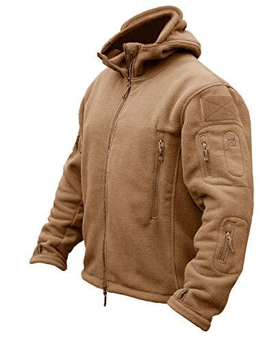 CRYSULLY メンズ ミリタリー タクティカル スポーツ 暖かいフリース フード付き アウトドア アドベンチャー ジャケット コート US サイズ: Large カラー: ブラウン