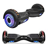 TPS 6.5' Hoverboard Electric Self Balancing Scooter with Wireless Speaker and LED Lights for Kids and Adults - UL2272 Safety Certified (Shadow Black)