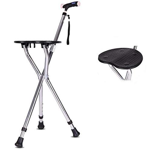 Aid Folding Seat Cane, Gehstock & Stuhlsitz, Travel Cane Chair, Leichter, robuster 3-beiniger Walking Seat Stick - dreibeiniger Stock mit Hocker, für Angelgarten Camping Event Hocker