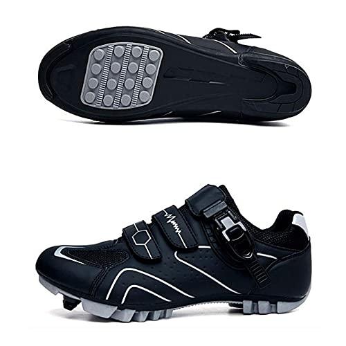 DSMGLSBB Zapatos De Ciclismo, 36-47 Road Mountain Bike Shoe, Sneakers De Bicicleta De Deporte Al Aire Libre Transpirable Antideslizante, Suela De Goma,Blanco,39