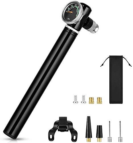 Mini Fahrradpumpe, 300 PSI Hoher Druck Handpumpe mit Manometer, Tragbare Luftpumpe Fahrrad für Presta/Schrader/Dunlop Alle Ventile, Fahrrad Pumpe Kleine Leichte Kompakt für Mountainbikes, Rennrad