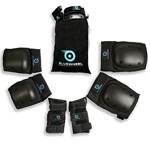 Bluewheel Schutzausrüstung PS200 für Self Balance Scooter, Inline-Skate, BMX-Fahrrad, Skateboard; Protektoren-Set - Optimaler Passformregulierung & festem Sitz - Kinder & Erwachsene -inkl. Tragebeutel