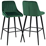 Duhome Elegant Lifestyle Bar Stools Set of 2 Barstools Velvet Stool Modern Bar Chairs with Green Bar Stool Kitchen Stools Dining Chairs