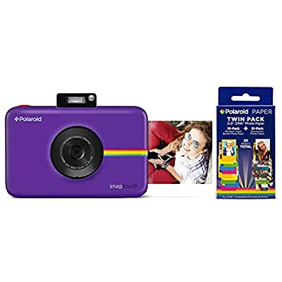 Polaroid Snap Touch Portable Instant Print Digital Camera with LCD Touchscreen (Purple) w/ 20 Twin Pack Zink 2x3 Photo Paper by Polaroid
