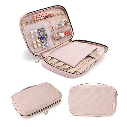 BAGSMART Travel Jewelry Storage Cases Jewelry Organizer Bag for Necklace, Earrings, Rings, Bracelet, Pink