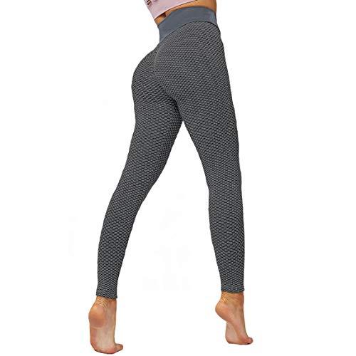 IuulFex Leggings de Entrenamiento para Mujeres Booty Yoga Pantalones de Cintura Alta Scrunch Butt Levantamiento de Barriga Medias Control - Negro - Small