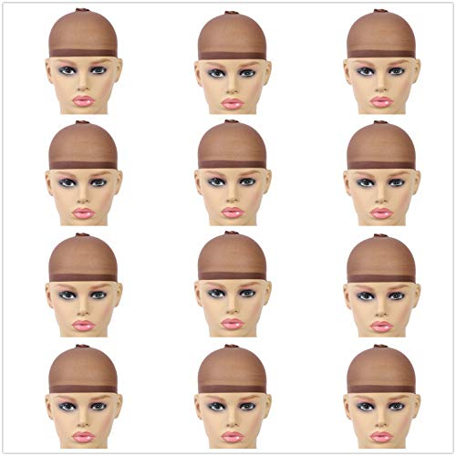 Halo Lady 12 Pack Free Size Stocking Wig Caps Stretchy Nylon Close End Wig Caps for Women and Men Wear Lace Hair Wigs (Dark Brown)