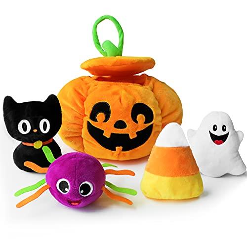 Bunny Chorus My First Halloween Pumpkin Toys Playset, 5ct Stuffed Pumpkin Plush Cat Spider Ghost Candy Corn for Baby Girls Boys, for Babies