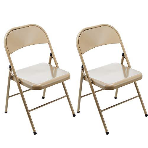 LeChamp 2 x Stahl-Klappstuhl mit starkem Metallrahmen für Camping, Bürostuhl, platzsparender Schreibtischstuhl für Gäste, Besucher und Konferenzen, temporärer Sitz, braun