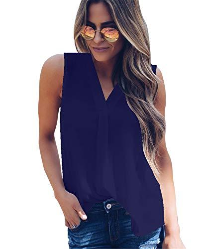 JIER Damen Ärmellos Chiffon V Ausschnitt Bluse Lässige Weste Top Sommer Lose T-Shirts Oberteile Mode Hemd Elegante Tank Tops Blusentops Shirt (Marine,Medium)