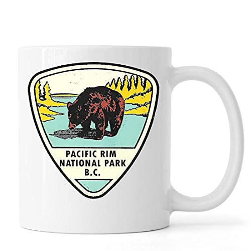 Desconocido Pacific Rim National Park Brown Bear Retro Style Poster Taza de café de té de cerámica Blanco