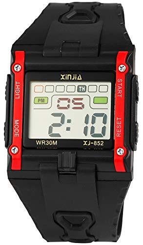 Xinjia Reloj de Hombre Negro Rojo Digital Fecha Alarma luz plástico Silicona Cuarzo Reloj de Pulsera