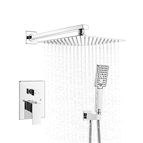 ROVATE Bathroom Luxury Rainfall Shower Combo Set Wall Mounted, Rainfall Shower System Rough-in Valve Body and Trim Included, 10 Inch Rain Shower Head and 3-Setting Handheld Shower (Polished Chrome)
