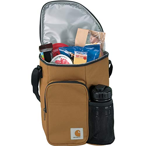 Carhartt Men's Vertical Insulated Lunch Cooler Bag with Water Bottle, Brown, One Size