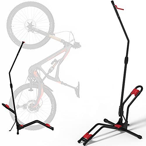 Soporte Bicicletas suelo Aparcamiento Vertical con fijación de rueda almacenamiento compacto, sin dañar las paredes