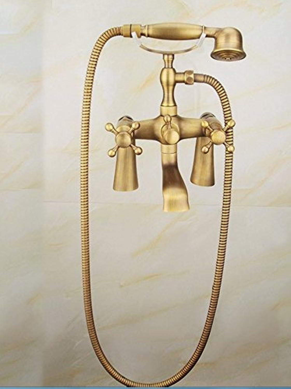 Bijjaladeva Antike Badezimmer Regen Mixer Dusche Regendusche Hahn System TippenContinental Gold Antik Kupfer Badewanne Dusche Wasserhahn Drei heiss & Kalt Wasser Kit Dusche