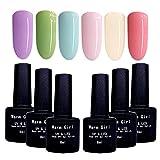 Juego de esmaltes de uñas de gel para remojar el esmalte de gel UV LED, 6 unidades, color rosa, morado, verde, azul, kit de uñas de gel para el hogar