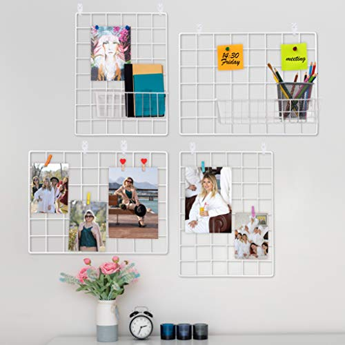 Paquete De 4 Rejilla Decoracion Pared   Rejilla Pared Para Mostrar Fotos   Paneles De Metal, Blanco y Magnético   Organizador De...