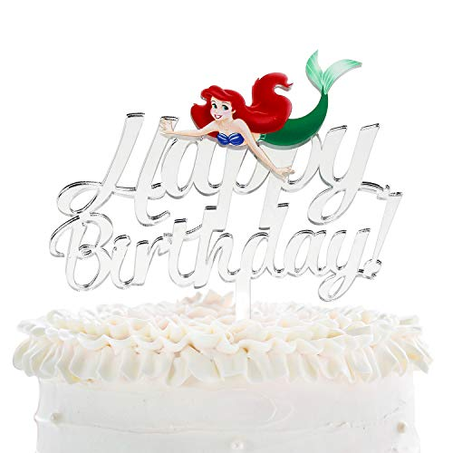 Mermaid Happy Birthday Cake Topper - Disney Parks Under The Sea Cartoon Theme Party Cake Décor - Baby Shower Girls Birthday Party Supplies - Mystical Sea-maid Silver Mirrored Acrylic Decorations