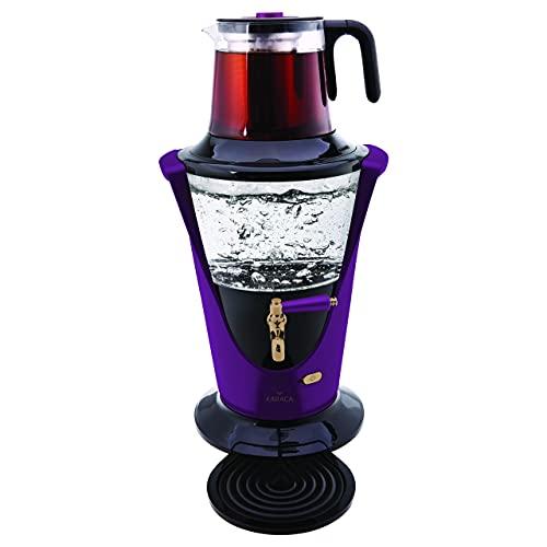 Karaca Purple Glass Samovar Sieb Caymatik Semaver Teebereiter Wasserkocher Edelstahl 2200 Watt 2,7 L Tee, Tea, Tea maker, Türkische teekanne, Tea Pot Karaca