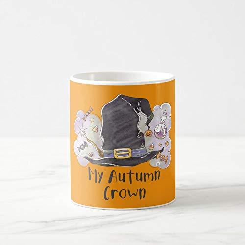 Funny Autumn Coffee Mug 11 oz Halloween Potion Autumn Witch Crown Coffee Mug, Holloween Novelty Ceramic Mug Unique Gift for Men Women