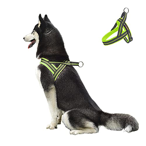 Easy Walk Dog Harness,Reflective No-Choke Dog Halters for Small Medium Lager Dogs,Adjustable Durability No Pull Dog Vest Harness(Green,S,6-12 KG)
