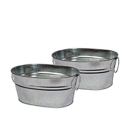 """CHILDHOOD 2 Pack of Versatile Galvanized Metal Tub for Plants, Bar Snacks Container for Wedding & Parties, Cat Litter Scoop Holder, 8""""L x 5.75""""W x 3.75""""H"""
