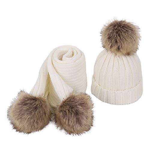 Vdn Djvn - Bufanda para niña, 2 unidades, mezcla de algodón de 3 a 8 años para niños y niñas, gorro de punto con bufanda falsa para bebé, diseño de Pom Cap 8, color opcional