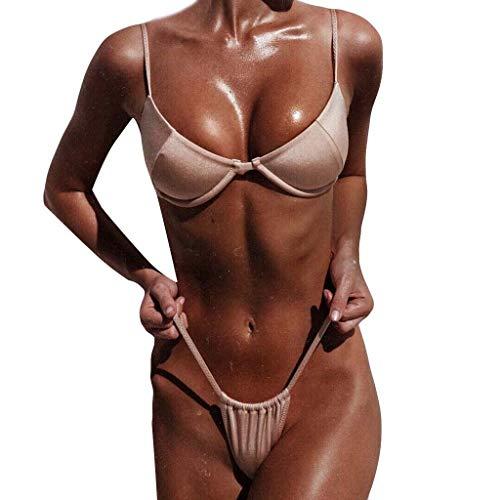 SCHOLIEBEN Bikini Damen Set Push Up Bandeau Sexy High Waist Brazilian Oberteil Triangel Mollige Retro Bade String Tanga Thong Badeanzug Bademode